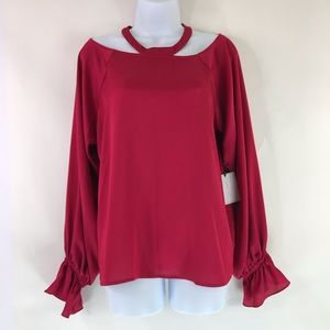 1. STATE Ballon Sleeve Top Cut Out Neck Keyhole M